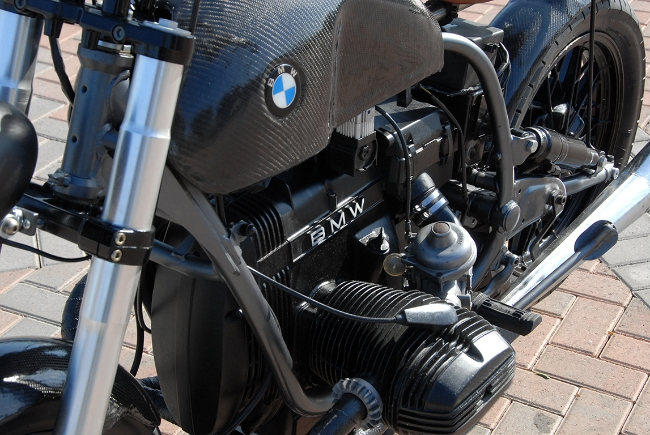 Carbon Fiber BMW Bobber Motorcycle Left Front Engine