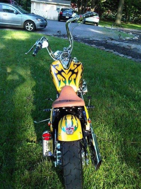 Kawasaki Vulcan 800 Yellow Bobber Motorcycle Rear View