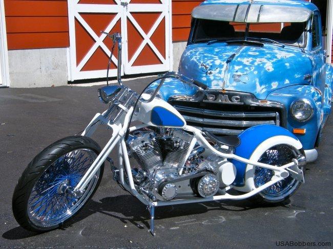Rods & Rides Blue Harley Davidson Bobber Motorcycle