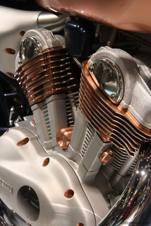 Yamaha Copper Motorcycle Right Engine Closeup