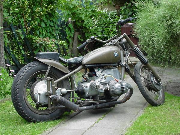 BMW Bobber Motorcycle in OD Green with unique Bobber Exhaust