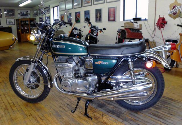 Suzuki 1976 GT550A Green Bobber Motorcycle