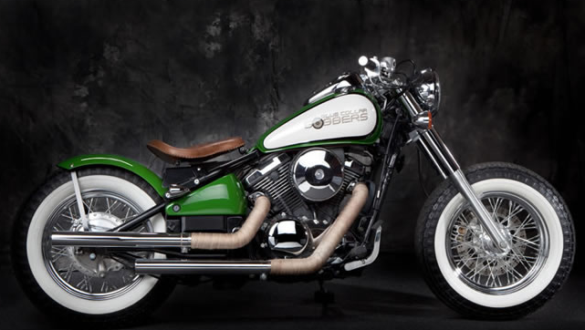 Kawasaki Vulcan 800 Bobber Motorcycle in Green and White with Brown Leather Seat