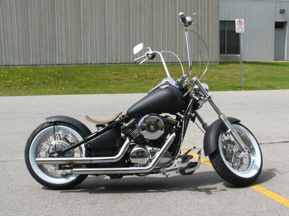 Kawasaki Vulcan 1500 Black Bobber Motorcycle With Ape Hanger Handlebars