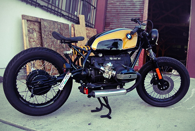 European 1983 BMW R80 Bobber Motorcycle in Yellow and Black