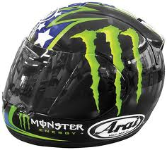 Arai Full Face Motorcycle Helmet with Monster Energy Graphics