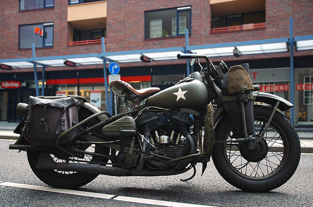 Classic WW2 Military Motorcycle In OD Green