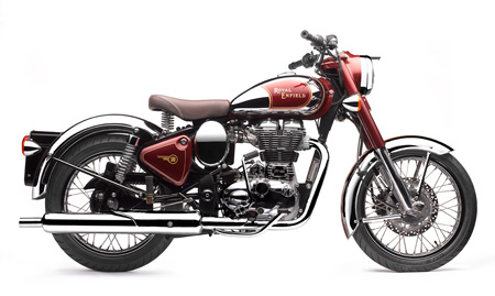 Royal Enfield Bullet C5 Chrome And Red Bobber Motorcycle