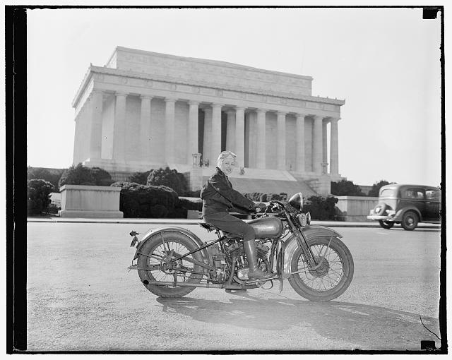 Mrs. Sally Halterman is the first woman to get a motorcycle license