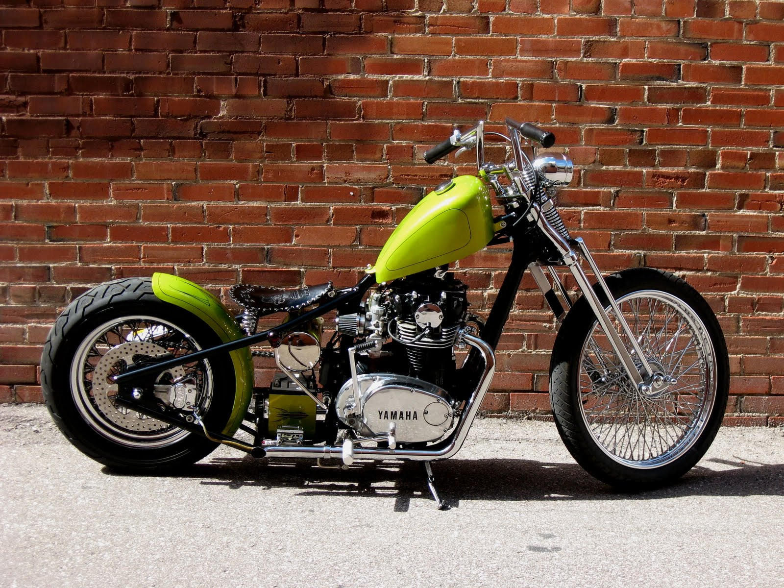 yamaha xs650 lime green bobber motorcycle. Black Bedroom Furniture Sets. Home Design Ideas