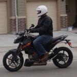 Black Icon Compund Motorcycle Jacket on KTM Duke 690 Supermotard