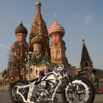 Futuristic Russian Bobber Motorcycle in Red Square Russia