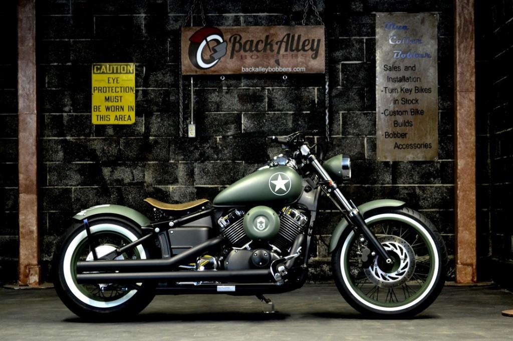 Military V-Star 650 Bobber Motorcycle in OD Green