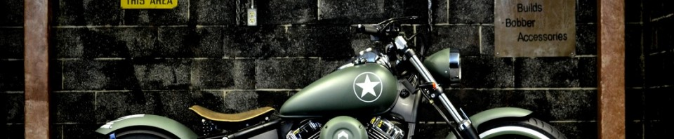 Military V-Star 650 Bobber Motorcycle in OD Green