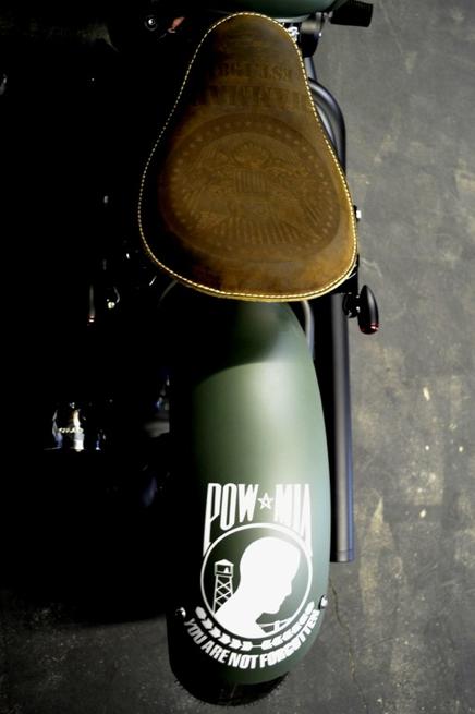 POW - MIA Military V Star 650 Bobber Motorcycle in Green