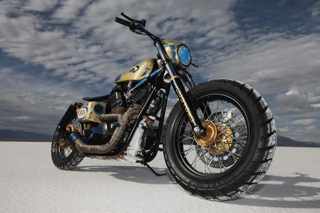Racing Bobber Motorcycle on Salt Flats