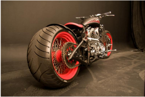 Red Rim Bobber Motorcycle